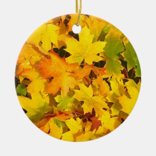 Fall Leaves Autumn Colors Leaf Design Christmas Tree Ornament