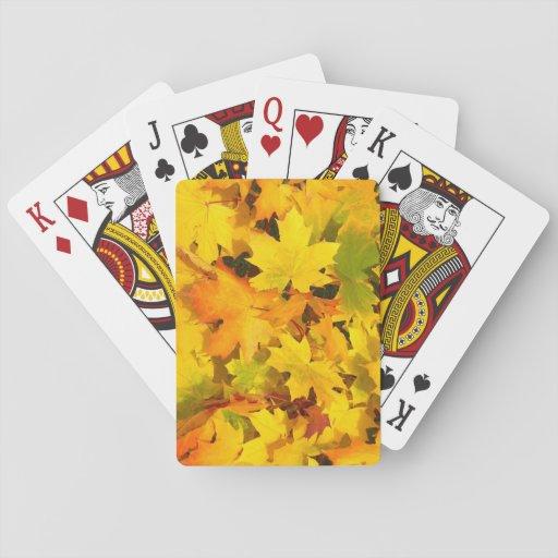Fall Leaves Autumn Colors Leaf Design Poker Cards