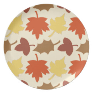Fall Leaves Autumn Leaf Pile Oak Brown Maple Tree Plate