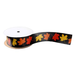 Fall Leaves Border Satin Ribbon