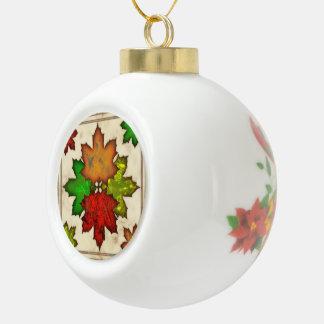 Fall Leaves Ceramic Ball Decoration