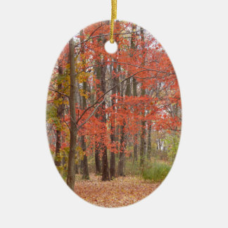 fall leaves ceramic oval decoration