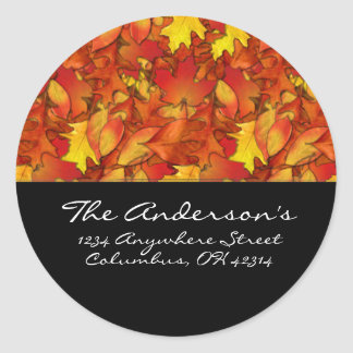 Fall Leaves Design 1 Address Labels Round Sticker