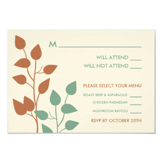 Fall Leaves Double Boughs Wedding RSVP Cards 2 9 Cm X 13 Cm Invitation Card