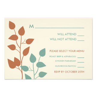 Fall Leaves Double Boughs Wedding RSVP Cards 2 Invitation
