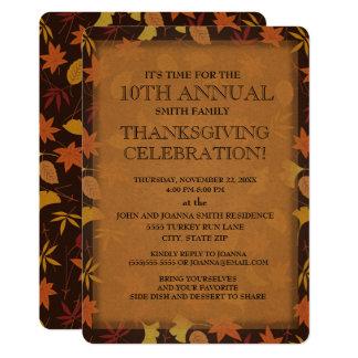 Fall Leaves Family Thanksgiving Dinner Invitation