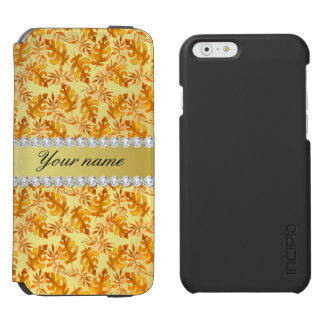 Fall Leaves Faux Gold Foil Bling Diamonds Incipio Watson™ iPhone 6 Wallet Case