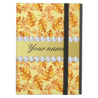 Fall Leaves Faux Gold Foil Bling Diamonds iPad Air Case