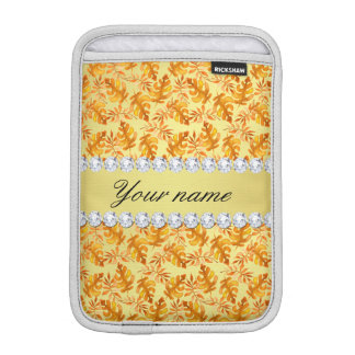 Fall Leaves Faux Gold Foil Bling Diamonds iPad Mini Sleeve