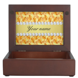 Fall Leaves Faux Gold Foil Bling Diamonds Keepsake Box