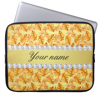 Fall Leaves Faux Gold Foil Bling Diamonds Laptop Sleeve