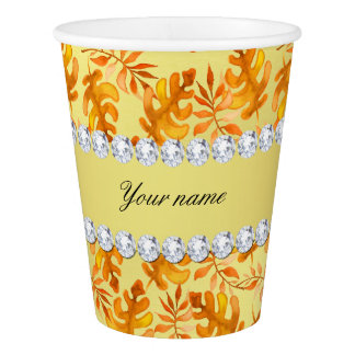 Fall Leaves Faux Gold Foil Bling Diamonds Paper Cup