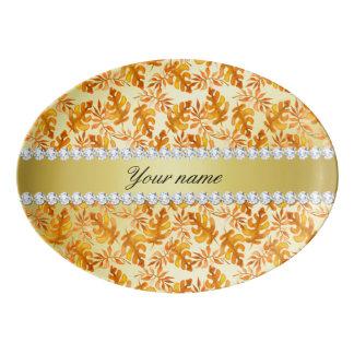 Fall Leaves Faux Gold Foil Bling Diamonds Porcelain Serving Platter