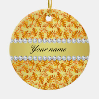 Fall Leaves Faux Gold Foil Bling Diamonds Round Ceramic Decoration