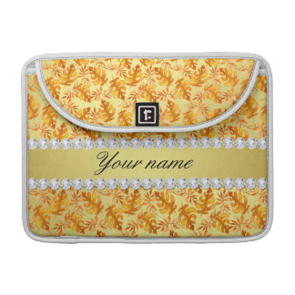 Fall Leaves Faux Gold Foil Bling Diamonds Sleeve For MacBook Pro