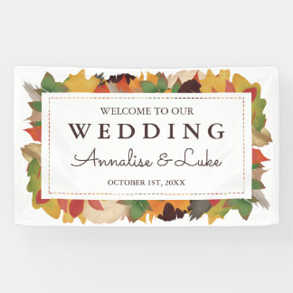 Fall Leaves & Feathers | Welcome to Our Wedding Banner