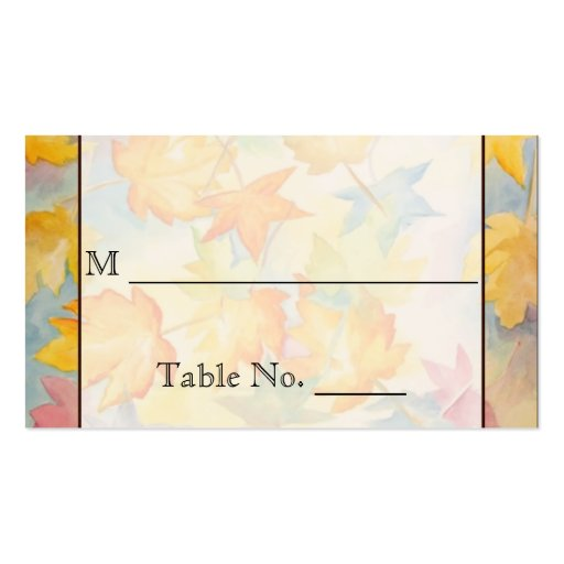 Fall Leaves Gay Wedding Place Cards Business Card Template