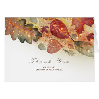 Fall Leaves Glitter Wedding Thank You Card