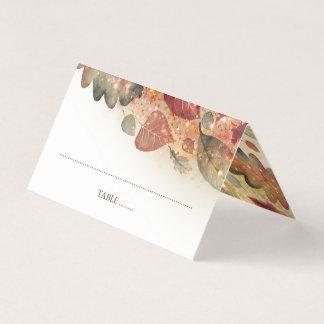 Fall Leaves Glitter White Elegant Place Card