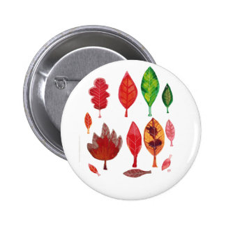 Fall Leaves in red Green and Gold Ink Painting Button