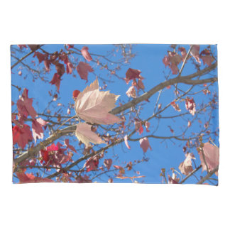 Fall Leaves in Red, Orange & Brown with Blue Sky Pillowcase