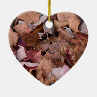 Fall leaves in the Smoky Mountains Ceramic Heart Decoration