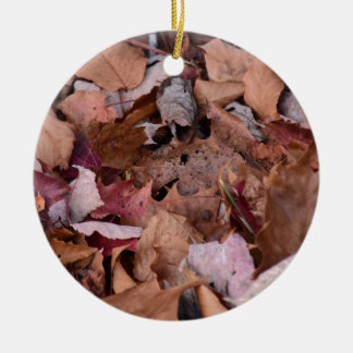 Fall leaves in the Smoky Mountains Round Ceramic Decoration