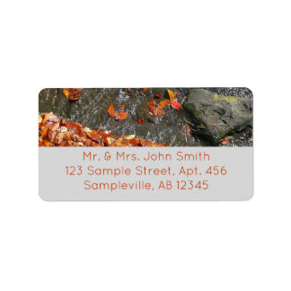 Fall Leaves in Waterfall I Autumn Photography Address Label
