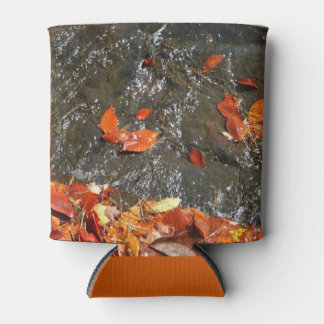 Fall Leaves in Waterfall I Autumn Photography Can Cooler