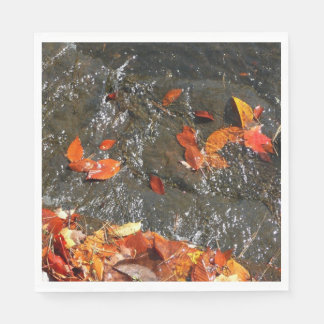 Fall Leaves in Waterfall I Autumn Photography Paper Napkin