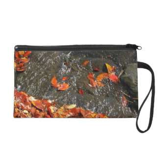 Fall Leaves in Waterfall I Autumn Photography Wristlet