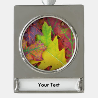 Fall Leaves in yellow, red, orange and Purple Silver Plated Banner Ornament