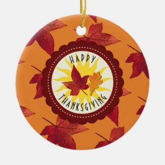 Fall Leaves Maple Thanksgiving Ceramic Ornament