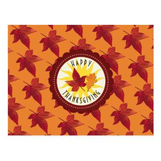 Fall Leaves Maple Thanksgiving Postcard