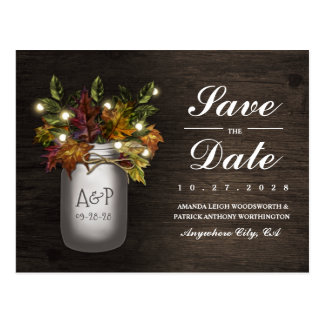 Fall Leaves Mason Jar Rustic Save The Date Cards Postcard