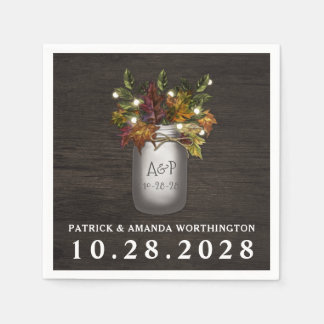 Fall Leaves Mason Jar Rustic Wedding Napkins Disposable Napkins