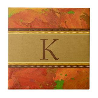 Fall Leaves Monogram Tile