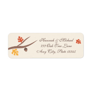 Fall Leaves Oak Tree Branch Acorn Return Address Label