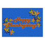 Fall Leaves on Blue Business Cards