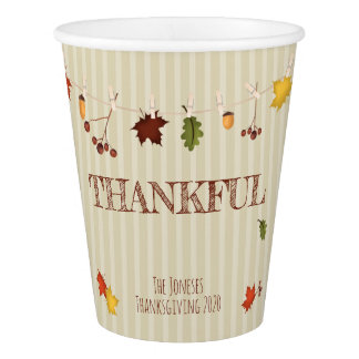 Fall Leaves on Clothesline Paper Cup