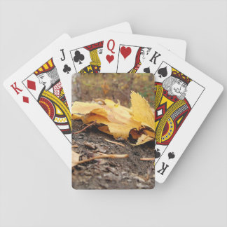 Fall Leaves on Tree Stump Playing Cards