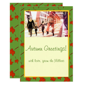 Fall Leaves: Orange Leaf, Customized Photocard 9 Cm X 13 Cm Invitation Card
