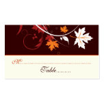Fall leaves orange red white wedding place card