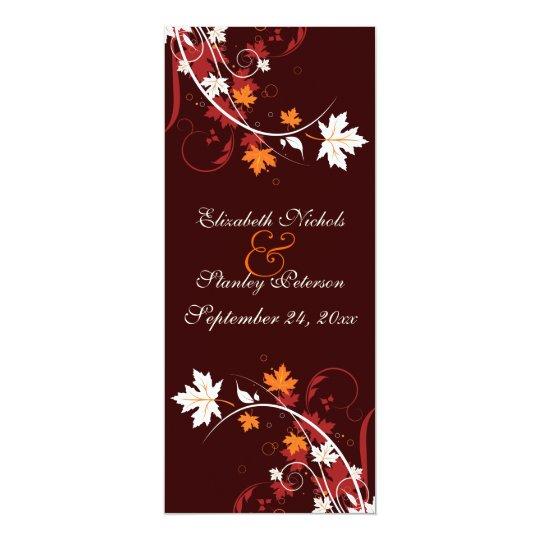 Fall leaves orange red white wedding program