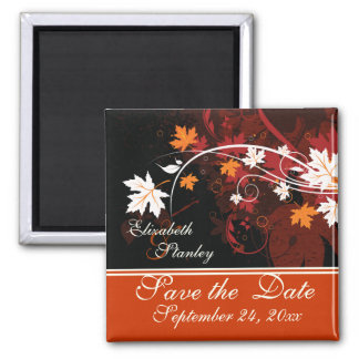 Fall leaves orange red white wedding Save the Date Magnet