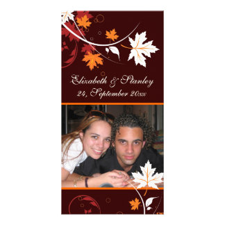 Fall leaves orange red white wedding Save the Date Photo Greeting Card
