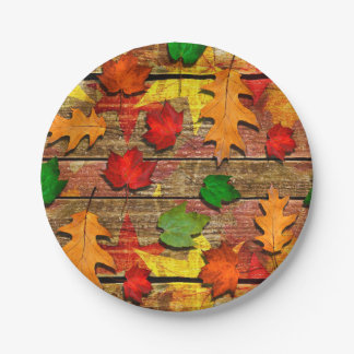Fall Leaves Party Plates 7 Inch Paper Plate