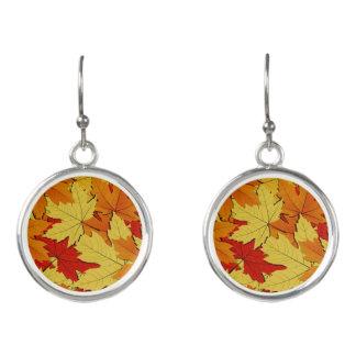 Fall Leaves Pattern Dangle Earrings
