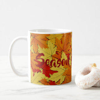 Fall Leaves Pattern Season's Greetings Coffee Mug