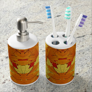 Fall Leaves Pattern Soap and Toothbrush Hodlers Soap Dispenser And Toothbrush Holder